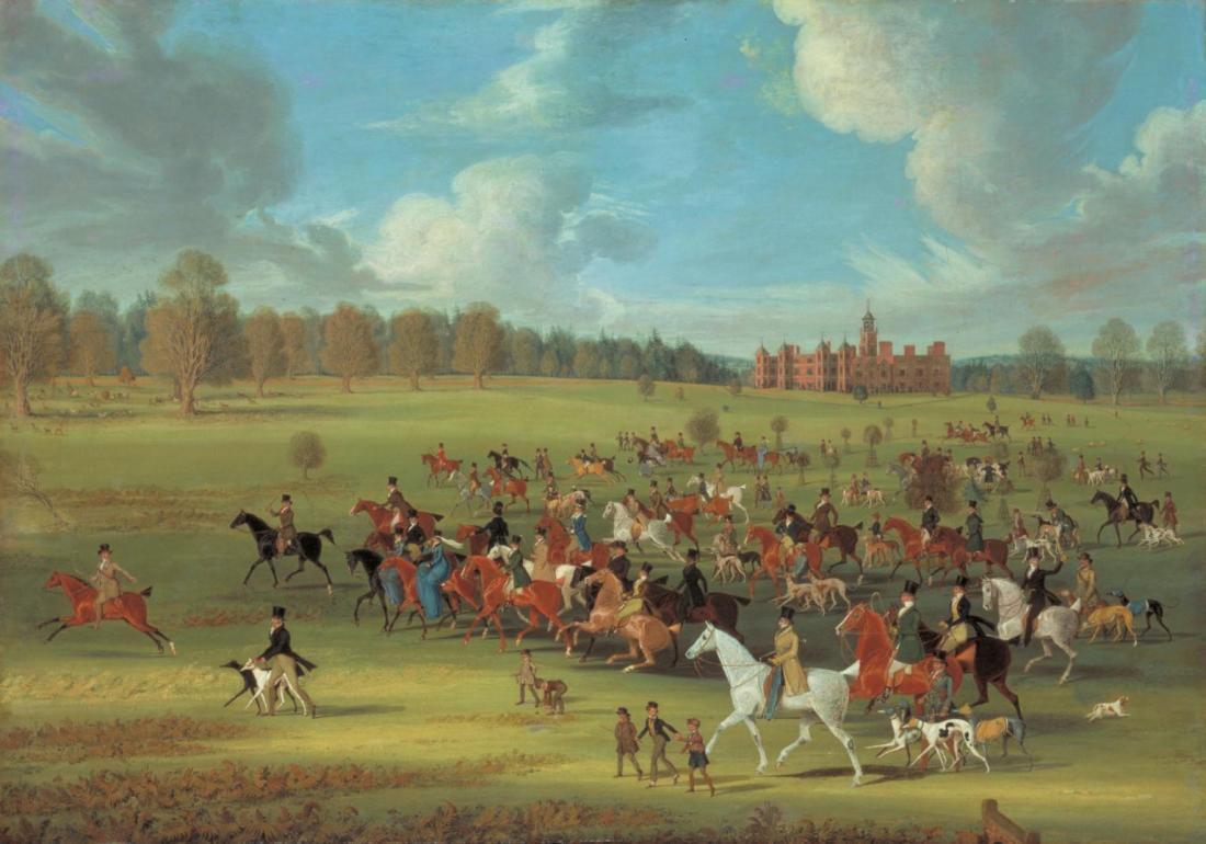 """""""Coursers Taking the Field at Hatfield Park, Hertfordshire, the Seat of the Marquess of Salisbury."""" Exhibited in 1824."""