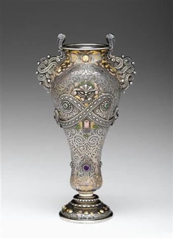Vase. ca. 1901. Silver and enamel.