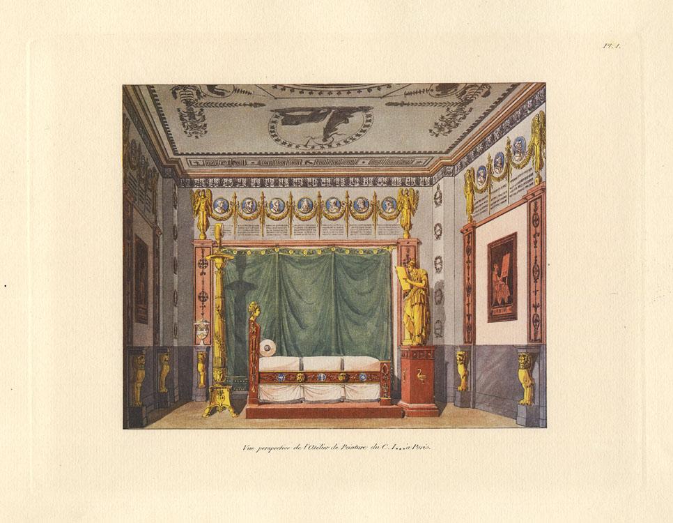 """""""Vue perspective de l'Atélier de Peinture du C. I------à Paris."""" Plate 1."""