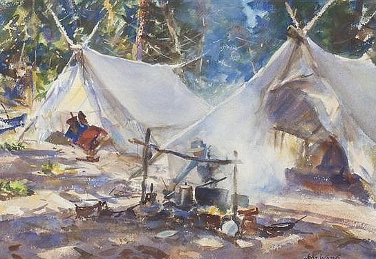 """""""Camp by the Lake."""" 20th c. Watercolor."""