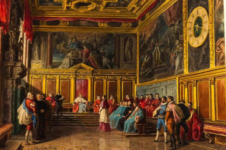 """""""La salle du collège."""" ca. 1850."""