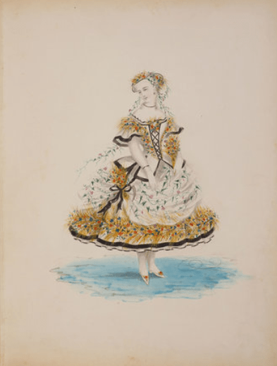 Costume with black ribbon trim. Mid 19th c. Watercolor.