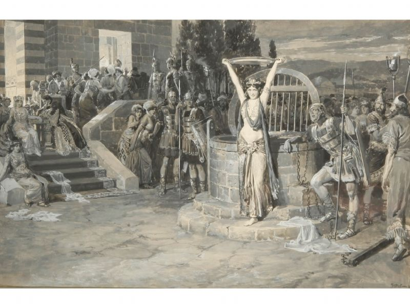 A woman in Arabian dress holding aloft a platter and surrounded by warriors.