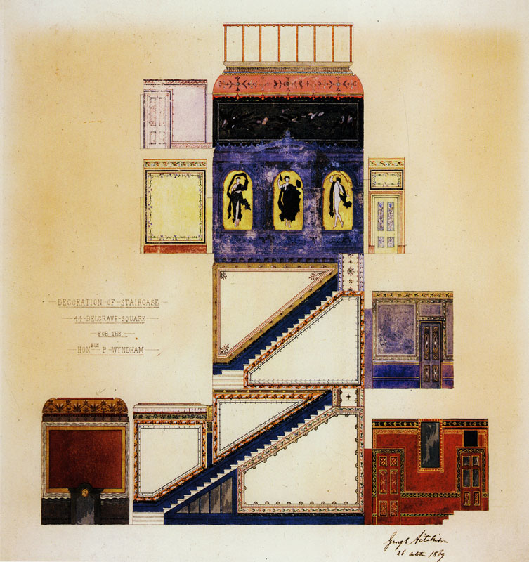 """Design for the decoration of the staircase, 44 Belgrave Square."" 1870. British."