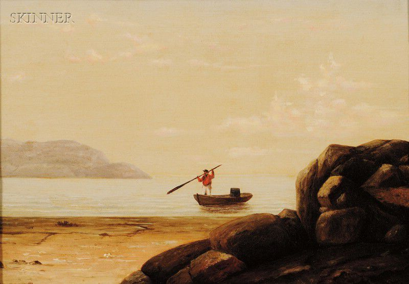 """Boat in Gloucester Harbor."" 19th c. Oil on canvas."