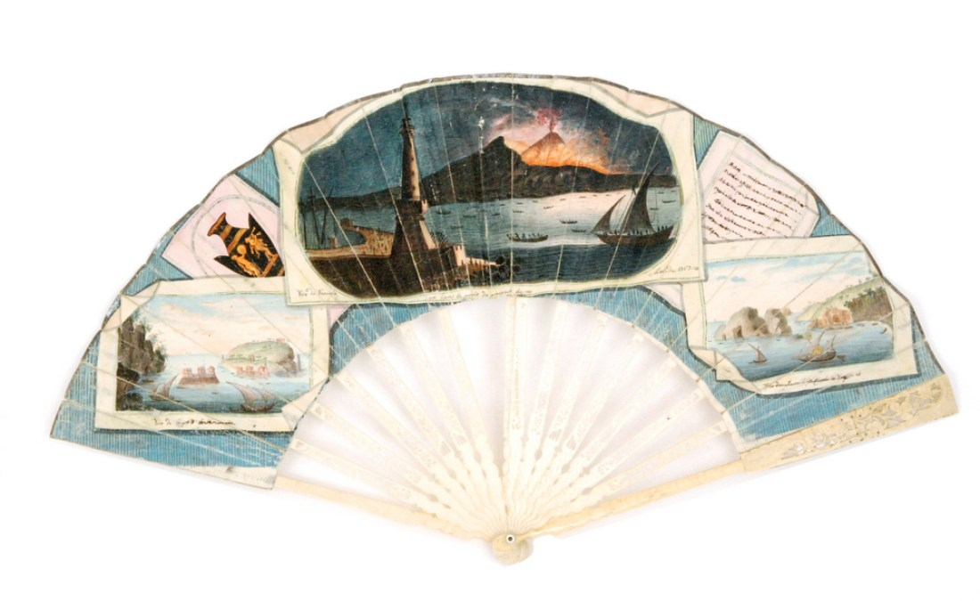Ivory fan painted with an eruption of Mount Vesuvius and other images of the Bay of Naples. 1767.