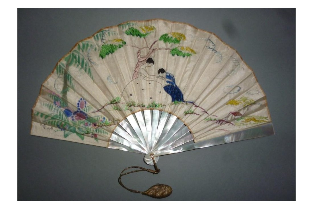 The hand-kissing, fan with mother of pearl sticks with a silk leaf embroidered in color threads and painted.