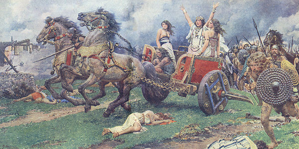 Boadicea leading Iceni revolt by Fortunino Matania