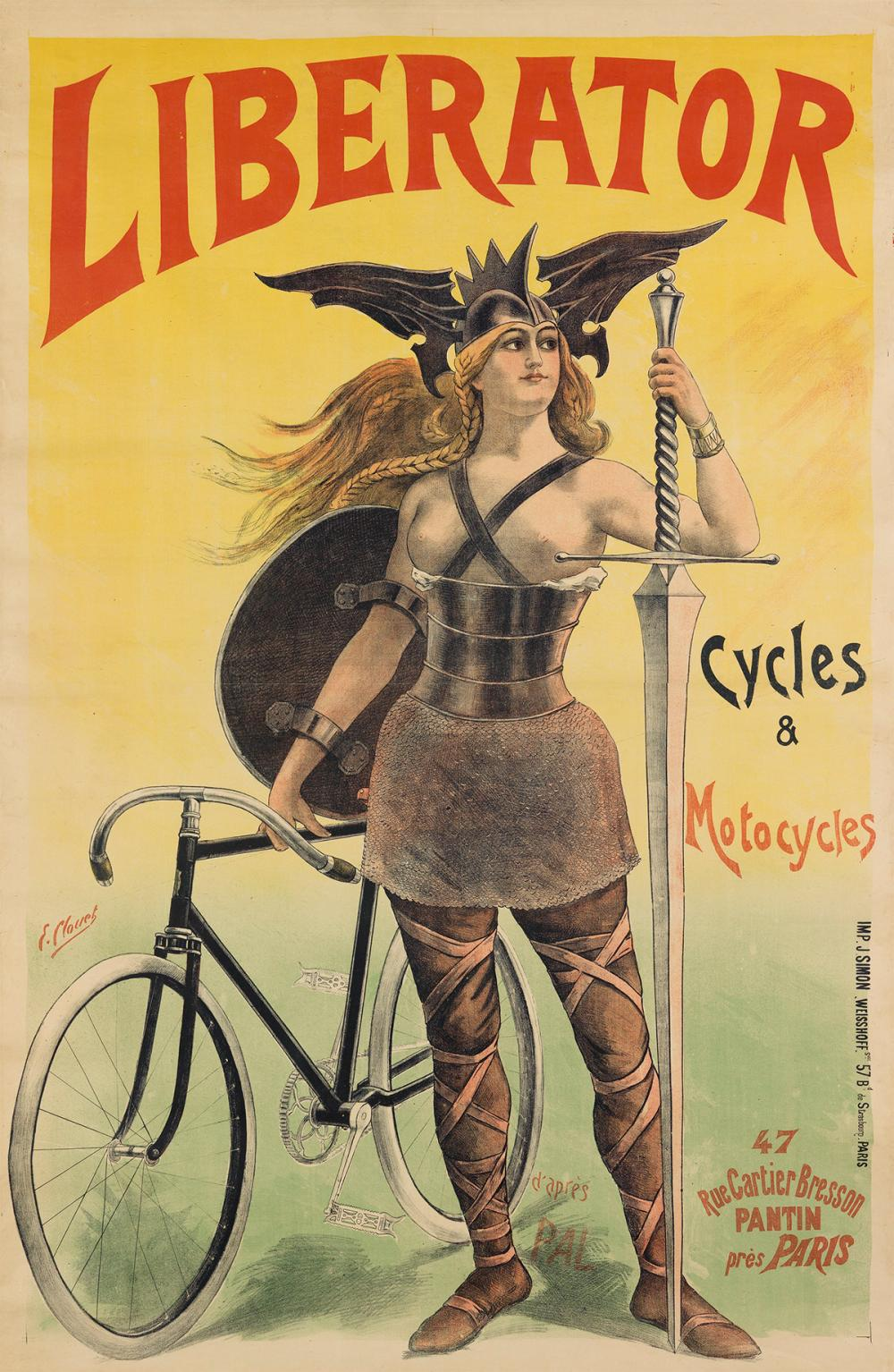 Poster for Liberator cycles and motorcycles. ca. 1899.