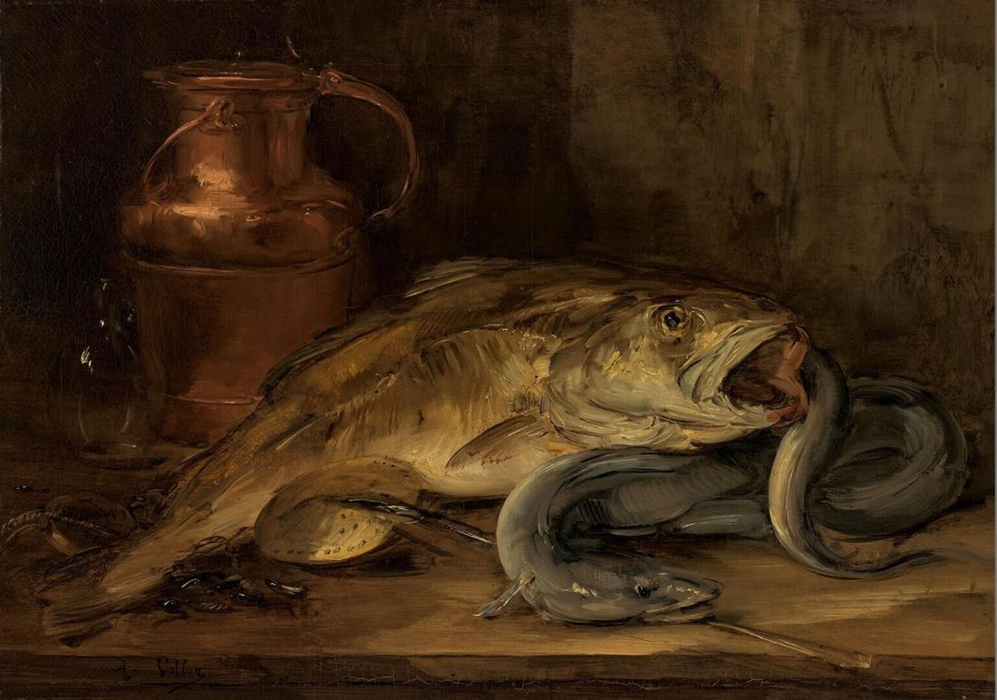 """""""Still Life with Fish and a Copper Jug."""" ca. 1860-1890. Oil on canvas."""
