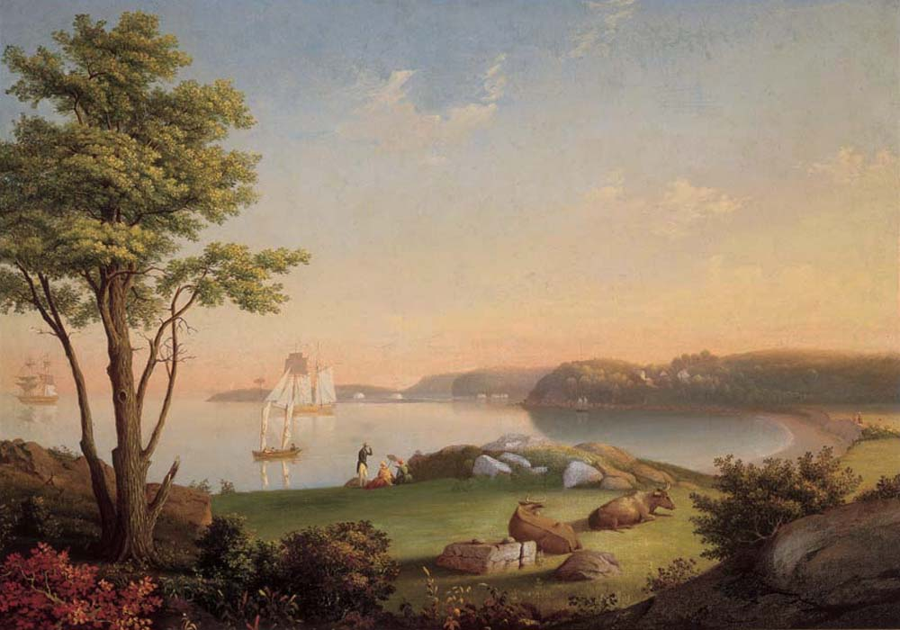 """Field Beach, Stage Fort Park."" ca. 1850. Oil on canvas mounted over board."