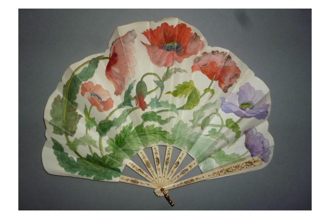 Poppy fan. Bone sticks and painted fabric leaf. ca. 1900-1910.
