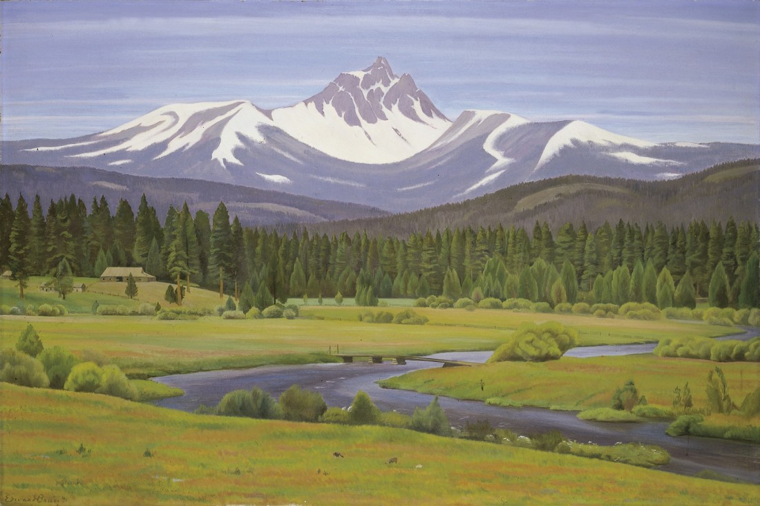 """""""In the Cascade Mountains."""" 1931. Oil on canvas."""