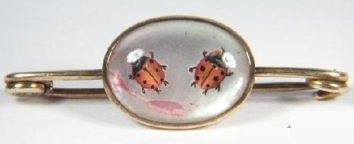 Ladybug brooch. Victorian.