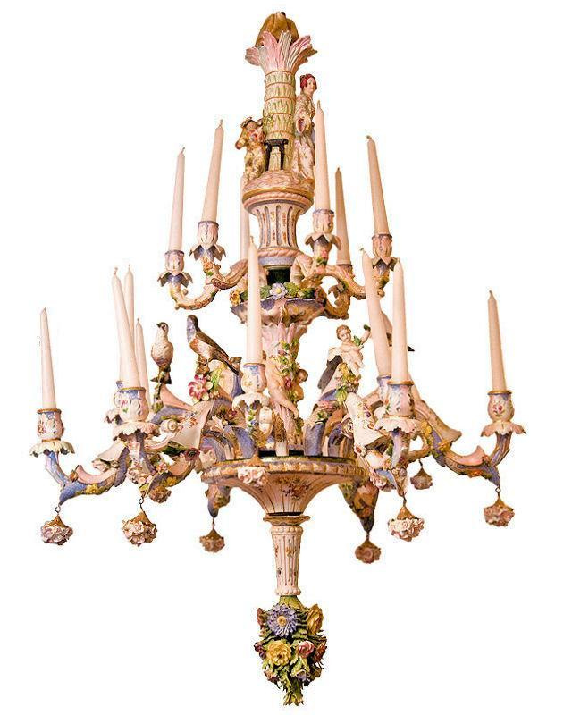 Chandelier featuring 16 candle arms, extensive floral encrusted decorations, figural songbirds and neoclassical figures. ca. 1900. Rococo Revival.