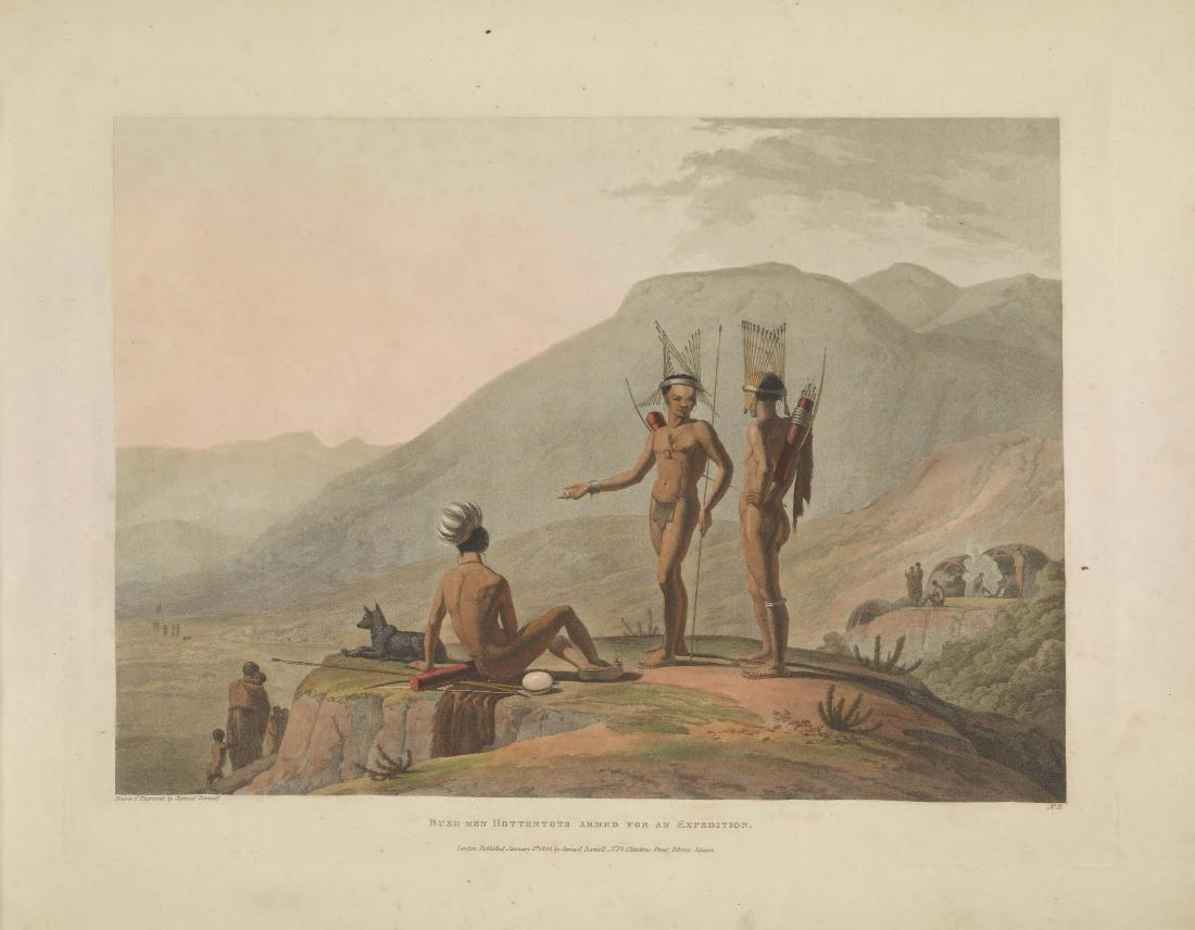 """""""Bush-men Hottentots Armed for an Expedition."""" Page 14."""