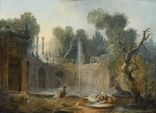 """""""The Teatro Delle Acque in the garden of the Villa Aldobrandini.""""  No date."""