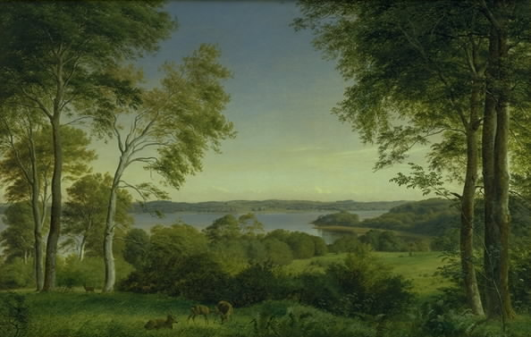 """""""Udsigt over Skarre Sø."""" 1845."""