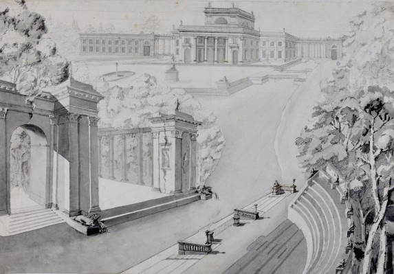 """""""View from the Ampitheatre of the Palace with the Planned West Wing."""" ca. 1792."""