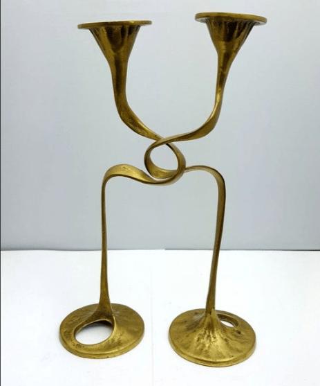 Candlesticks. 1900-1950. Bronze. Jugendstil.