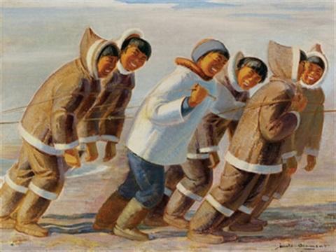 thomas-harold-beament-inuit-pulling-a-sled