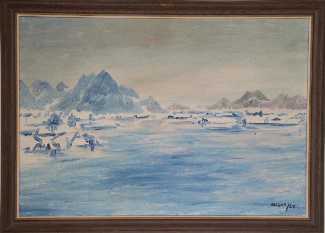 alibak-johansen-1921-2007-painting-greenland-bay-scenery-f58