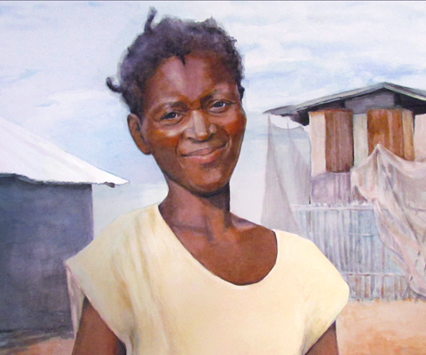 watercolor of Haitian woman