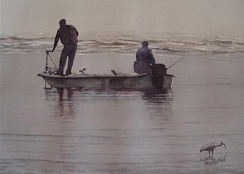 grey watercolor of two men fishing