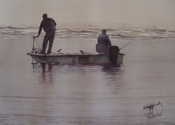grey watercolor of two men fishing