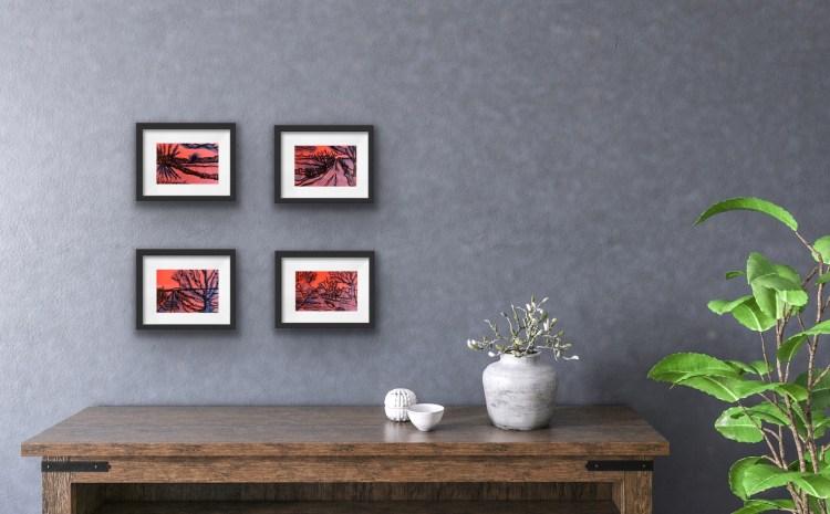 4 inky paintings