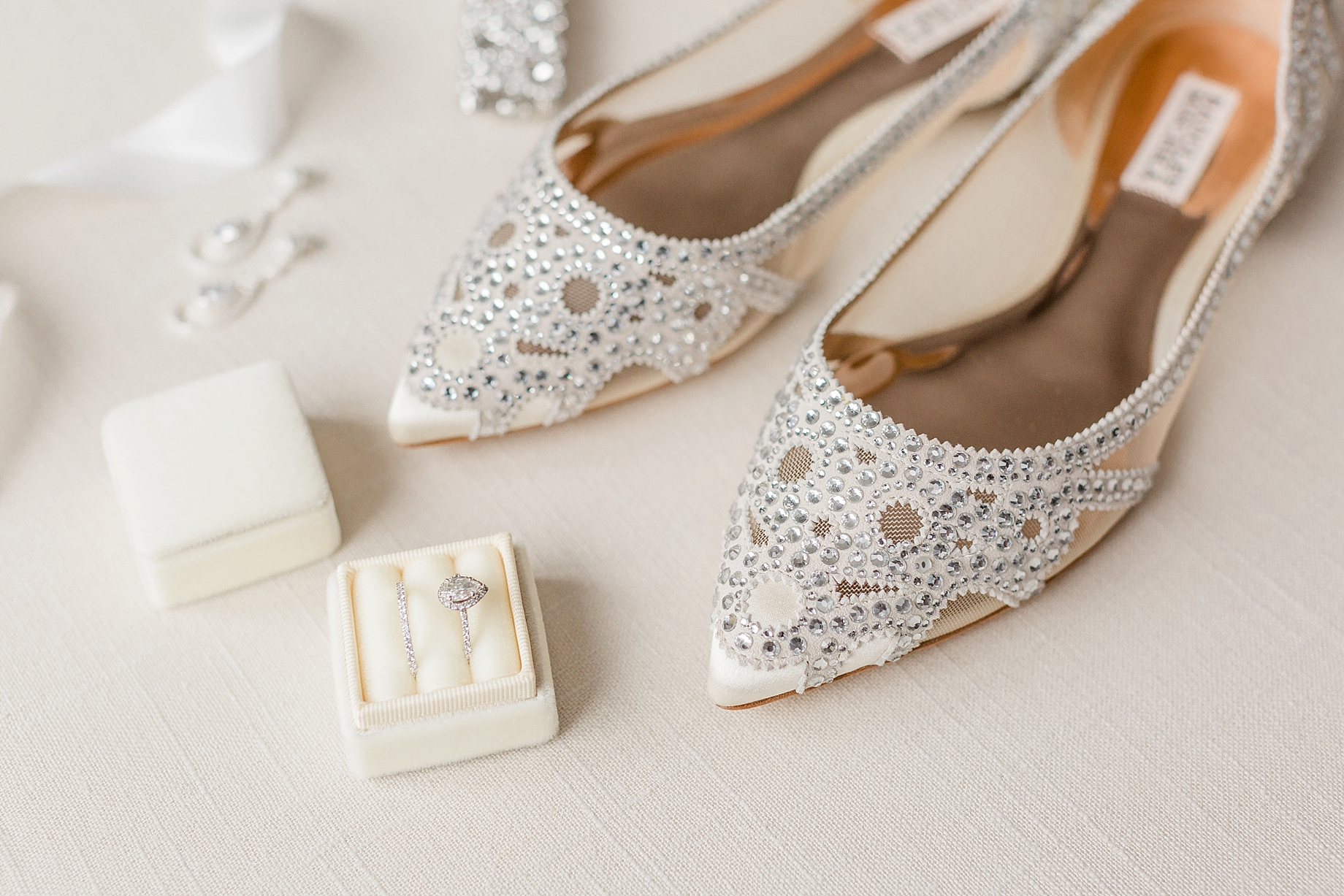 champagne bridal details   Badgley Mischka Flats   William Penn Inn Wedding