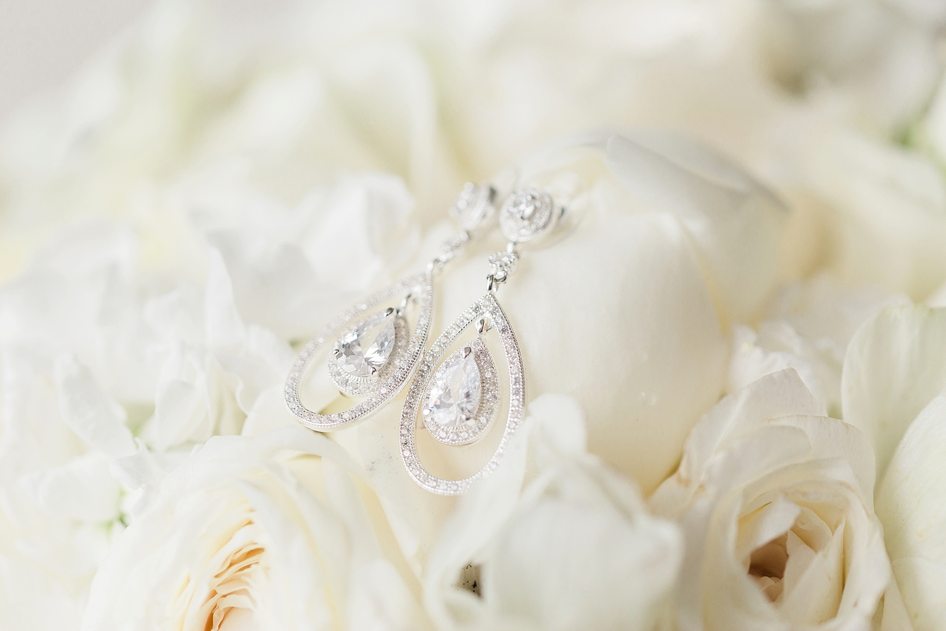 Tear drop bridal earrings   William Penn Inn Wedding