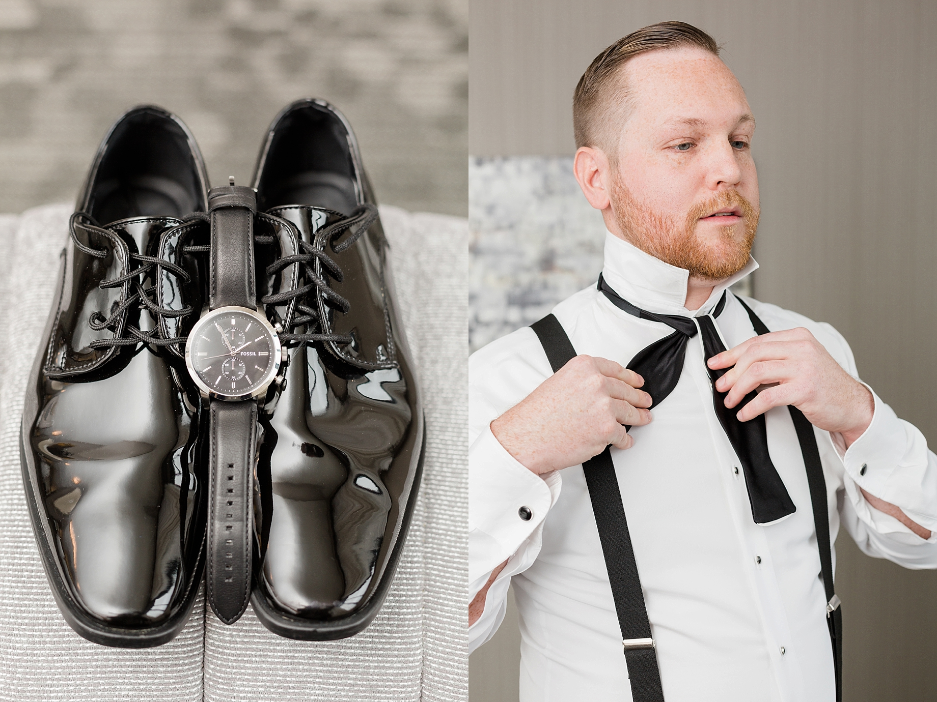 black and white groom details | William Penn Inn Wedding