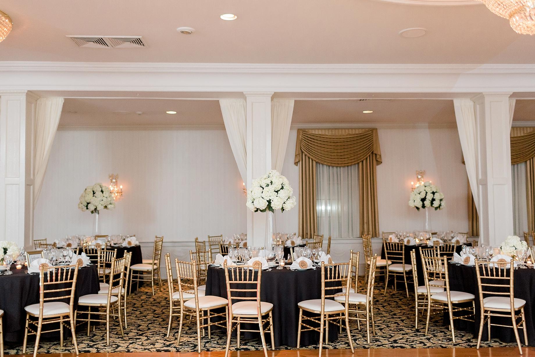 gold and black wedding reception   william penn inn wedding