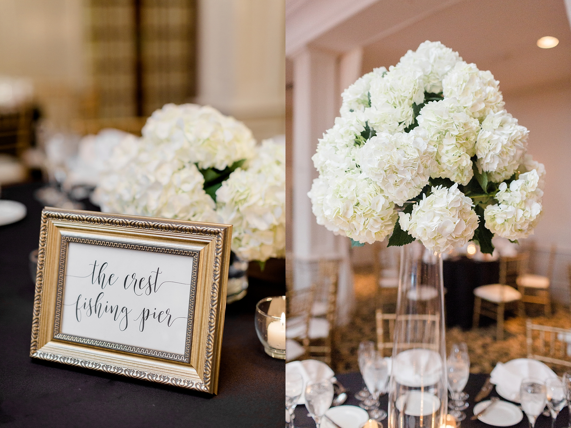 Tall white hydrangea centerpieces by the william penn inn