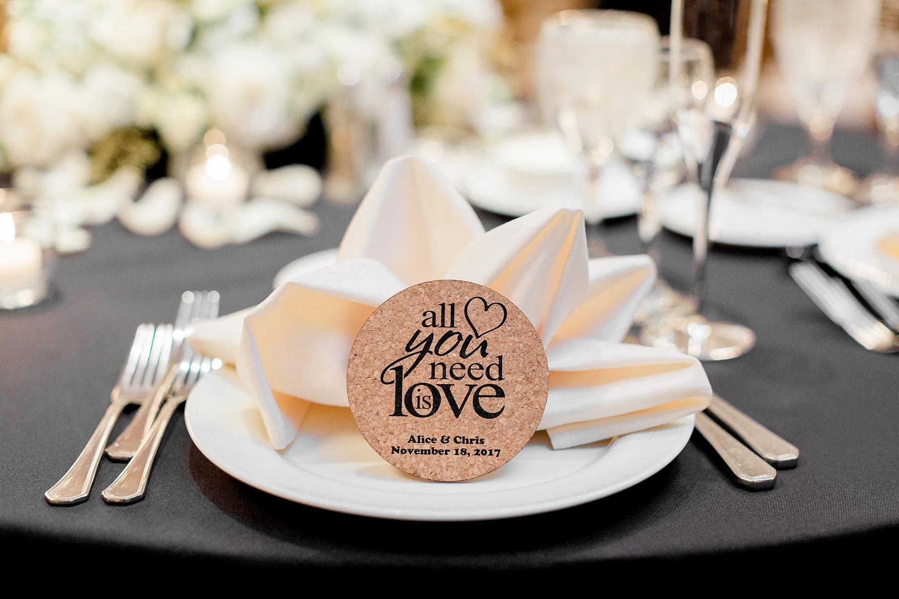 cork coaster wedding favors   William Penn Inn Wedding