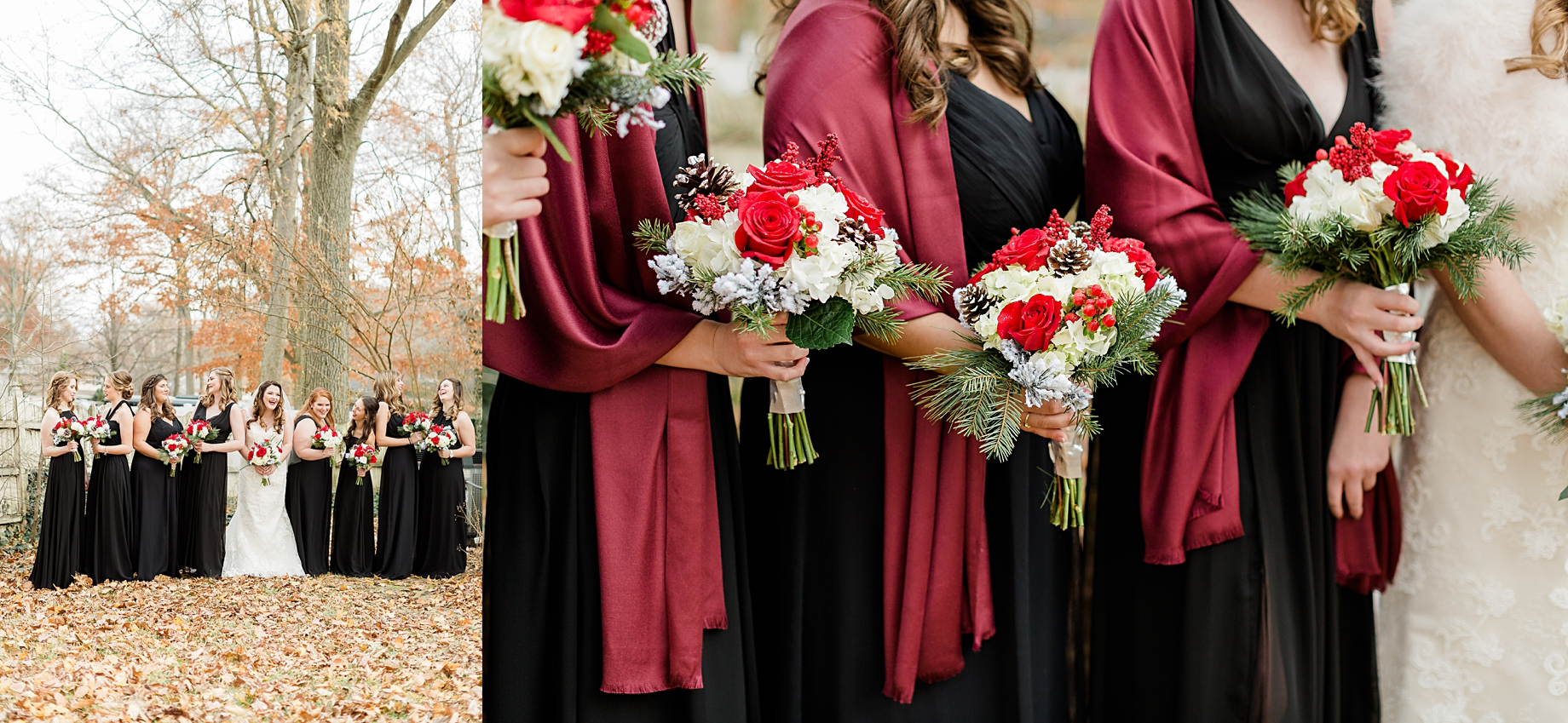 Christmas wedding bridesmaid Bouquet by Tunies Floral Expressions | Philadelphia Winter Wedding