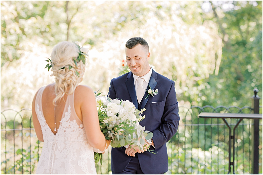 bride and groom first look | Hotel Du Village Wedding