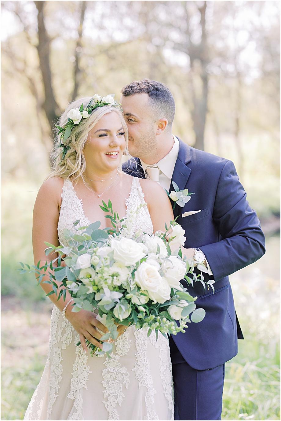 bride and groom in field | bride and groom portraits | Hotel Du Village Wedding