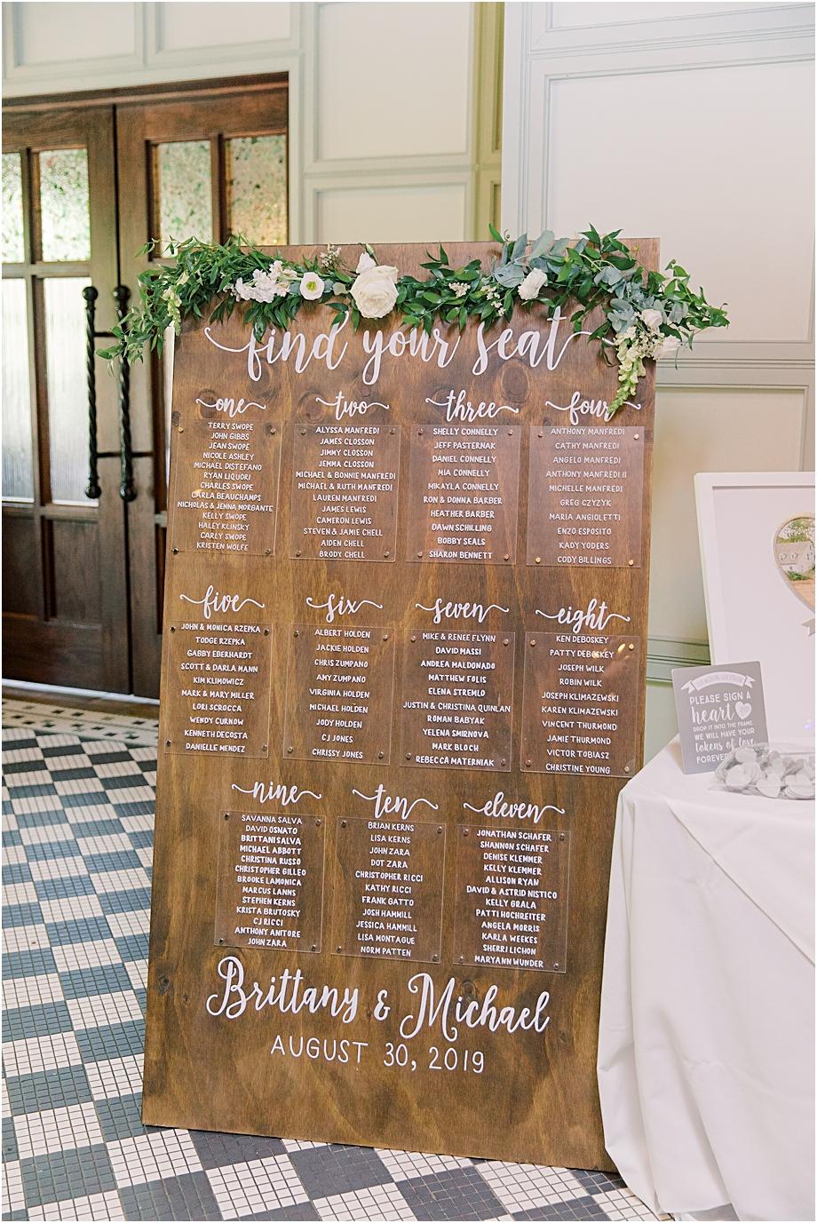 wedding seating chart | hotel du village wedding