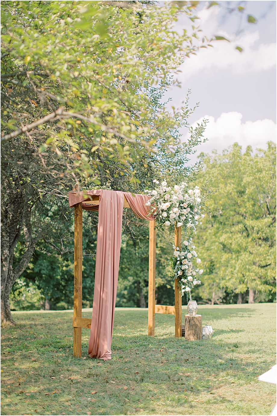 floral ceremony arch | John James Audubon Center Wedding
