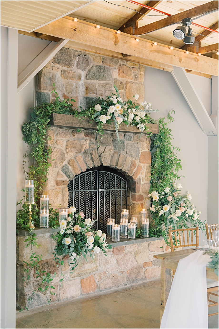 fireplace floral instillation | john james audubon center wedding