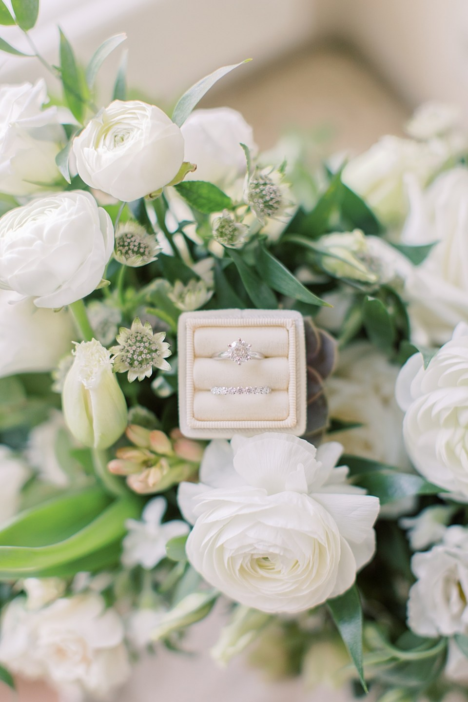 off white ring box | ring shot on flowers | new jersey wedding photographer sarah canning