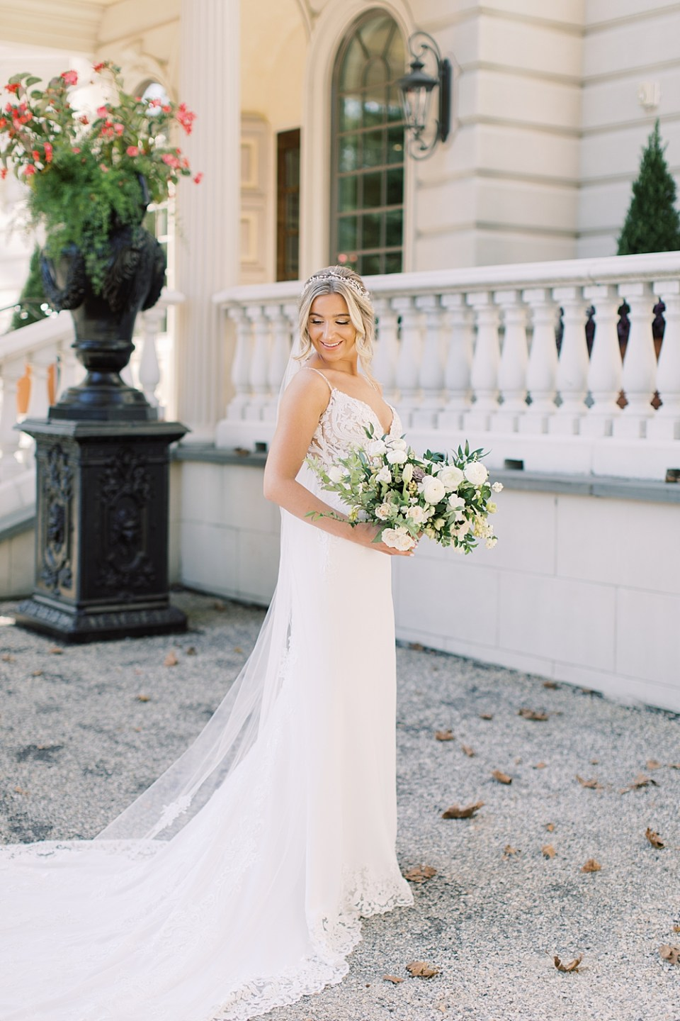 light and airy new jersey wedding photographer | sarah canning | enzoani lace and beaded gown