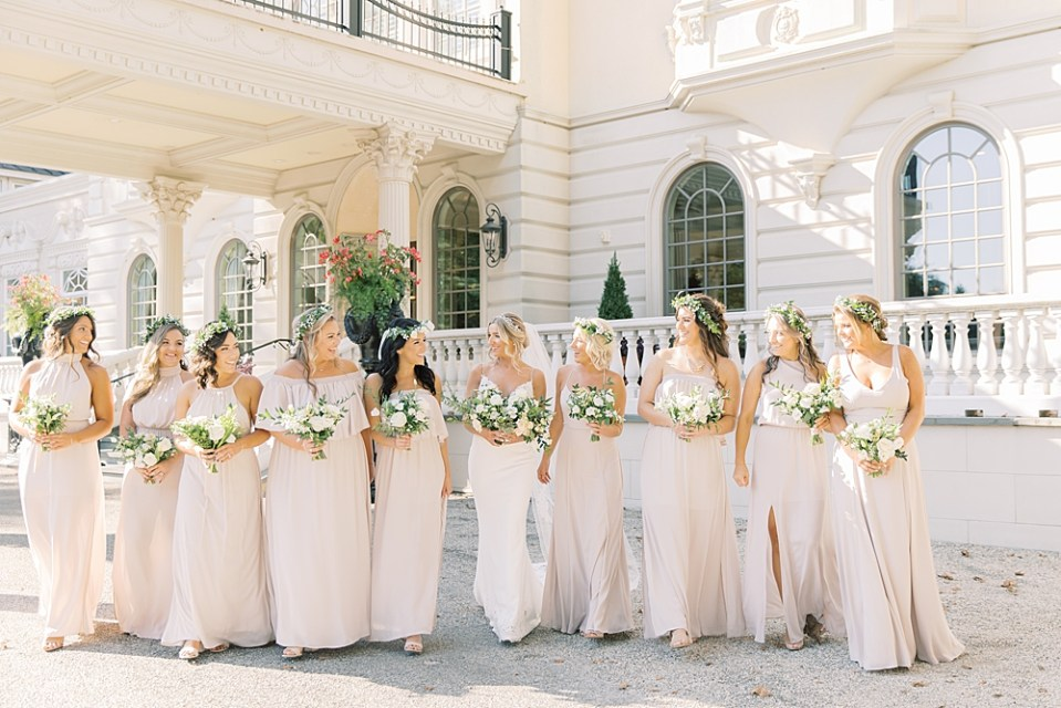 bride walking with bridesmaids | show me your mumu - show me the ring crisp | sarah canning photography