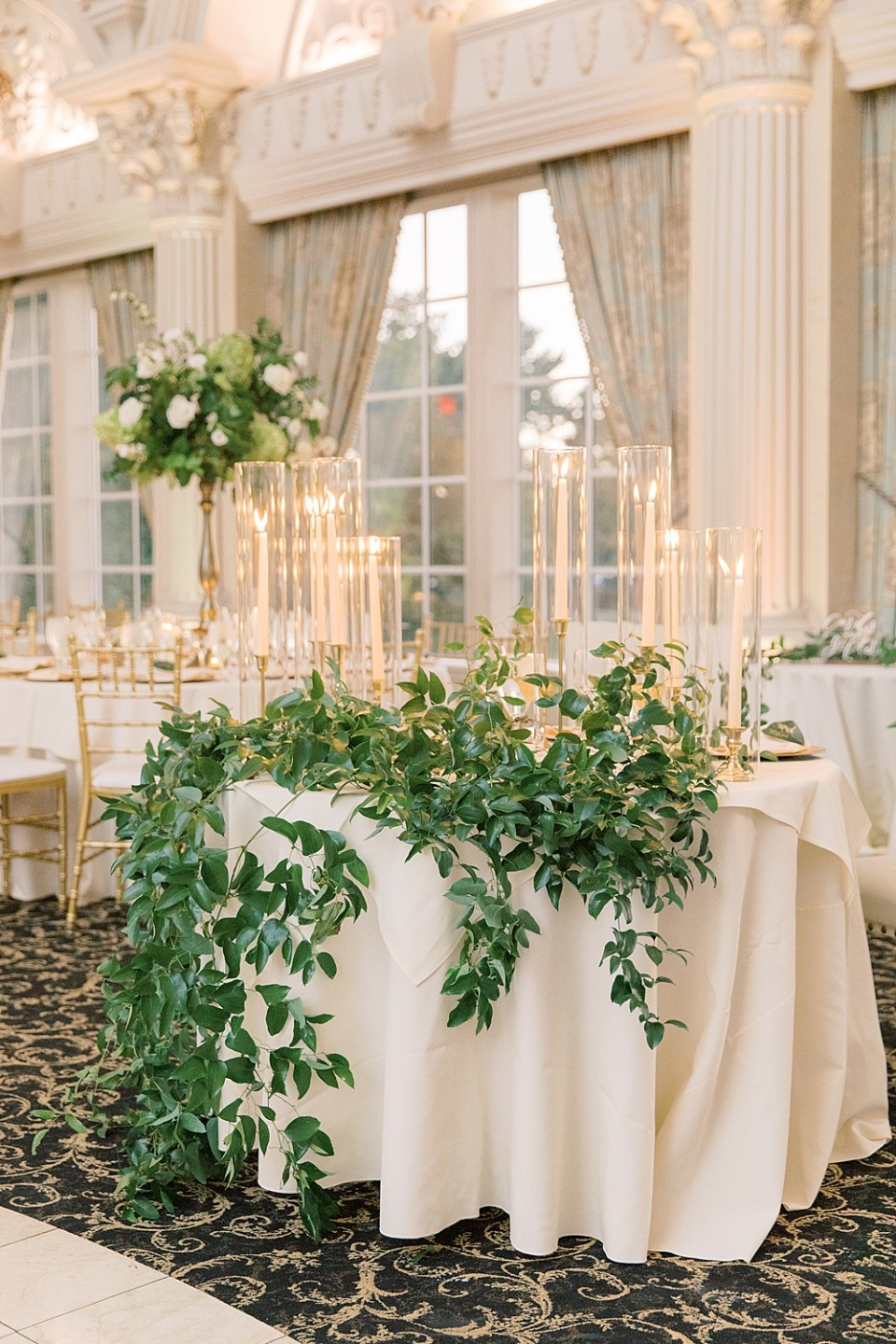 greenery filled head table | whisper and brook flower co | ashford estate wedding photographer sarah canning photography