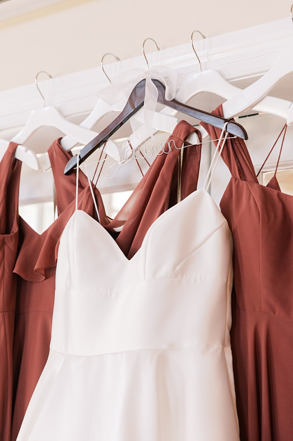 bride and bridesmaid dresses hanging | bear brook valley wedding | sarah canning photography