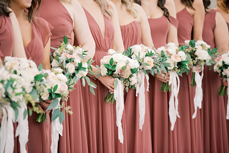 dusty rose bridesmaids dresses from bella bridesmaids | sarah canning photography