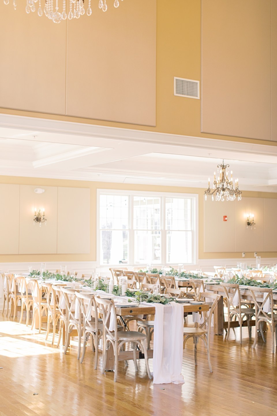 Bear Brook Valley wedding reception | farm tables | Sarah Canning Photography