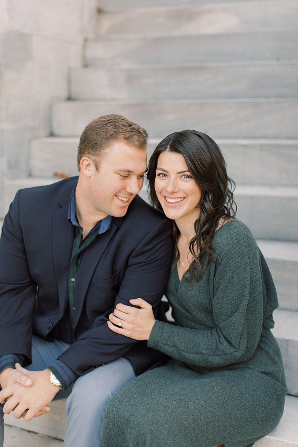 Seated engagement session pose | Philadelphia Wedding Photographer Sarah Canning